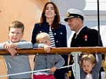 The Danish Royal family pictured on a cruise that will take them for a week-long holiday around South and West Greenland from August 1 to August 8