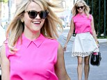 Making Elle Woods proud! Reese Witherspoon displays her slender figure in bright pink top and white skirt