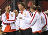 LANDOVER, MD - JULY 29:  Manager Louis van Gaal  of Manchester United celebrates Darren Fletcher scoring the winning penalty during the pre-season friendly between Manchester United and Inter Milan at FedExField on July 29, 2014 in Landover, Maryland.  (Photo by John Peters/Man Utd via Getty Images)