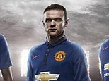 Blue is the colour: Tom Cleverley, Chris Smalling, Wayne Rooney and Danny Welbeck model the new Manchester United third kit