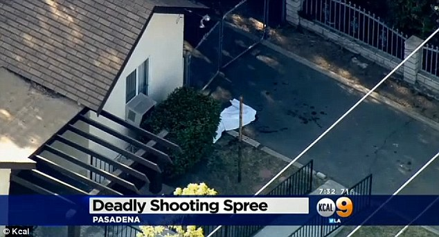 Deadly: A Pasadena neighborhood was shaken yesterday when a tenant-landlord dispute turned violent and three people were shot dead
