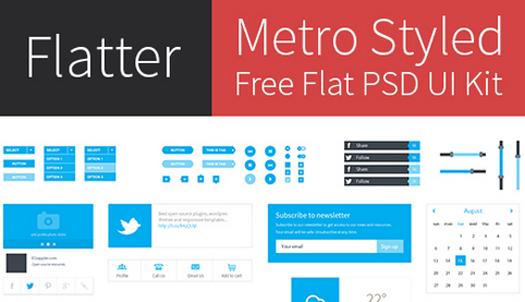Freebie Metro Style Free Flat User Interface Kit (PSD) – Flatter