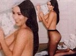 Topless again! Kim Kardashian wears nothing but sheer black tights to wish Givenchy designer a happy birthday