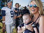 Starting them early! Dallas Cowboys Tony Romo gets training day visit from young sons Hawkins and Rivers... and his VERY glam wife Candice