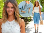 Sinfully stylish! Jessica Alba shows off slender limbs as she matches skirt and heels in modern take on double denim