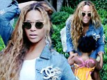 Beautiful and Blue! Beyonce shows off her hourglass figure in glamorous selfies from the garden with her shy girl