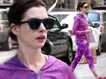 She's no shrinking violet! Anne Hathaway wears bright purple work-out gear as she wraps up errands in Brooklyn
