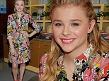 Blossoming style icon! Chlo? Moretz visits Spanish talk show wearing a feminine floral dress