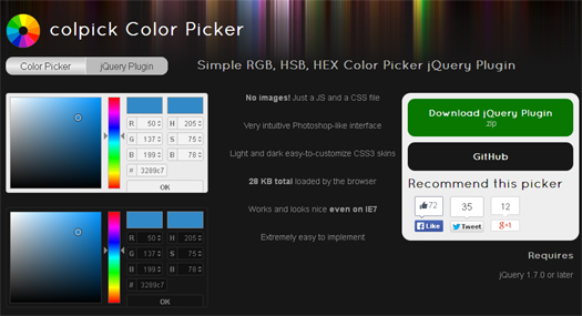 Lightweight jQuery Color Picker Plugin with RGB, HSB and HEX Fields - Colpick