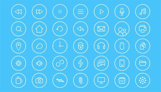 Free Thin Round PSD Icons
