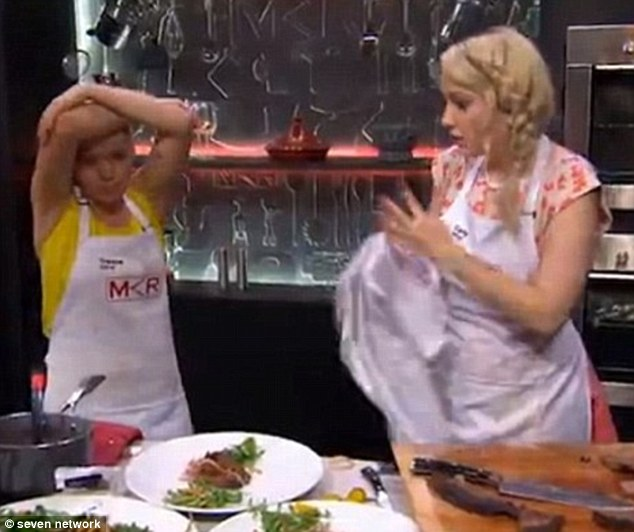 Defeated: The couple were eliminated after losing a challenge against South Australian mums Bree and Jessica by just one point