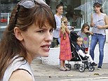 Jennifer Garner dons skinny jeans and loose tank top amid pregnancy rumours as she takes her three children to birthday party
