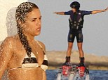 Michelle Rodriguez goes flyboarding