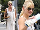 A reason to smile! Anna Faris grins as she steps out after husband Chris Pratt's film Guardians Of The Galaxy dominates at box office