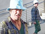 Mickey Rourke is mismatched as he heads for coffee in Beverly Hills