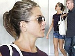 Tell us your secret! Jennifer Aniston defies her age as she flashes toned legs in tiny denim cutoffs during spa visit
