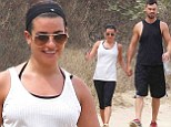 Smitten: Lea Michele and her beau Matthew Paetz held hands as they wore matching trainers for a hike in Los Angeles on Saturday