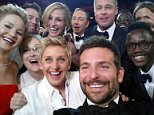 "Actor Jared Leto, Jennifer Lawrence, Meryl Streep, Ellen DeGeneres, Bradley Cooper, Peter Nyongío Jr., and (second row, from L) Channing Tatum, Julia Roberts, Kevin Spacey, Brad Pitt, Lupita Nyong'o and Angelina Jolie pose for a ""selfie"" portrait on a cell phone during the Oscars at the Dolby Theatre in Los Angeles, USA on Sunday, March 2, 2014.   This image released by Ellen DeGeneres shows  (AP Photo/Ellen DeGeneres)"