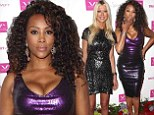 Metallics: Vivica A. Fox showed off her cleavage in a shining purple dress, left, as Tara Reid displayed her legs, right, in a sequined dress as they celebrated Vivica's 50th birthday in Beverly Hills, California on Saturday