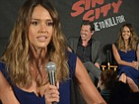 Jessica Alba wows in clingy blue dress while promoting Sin City: A Dame To Kill For with her co-stars
