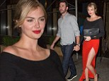 She's red hot! Kate Upton displays her long legs in thigh-high slit skirt while holding hands with boyfriend Justin Verlander