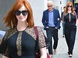 'Mad Men' stars Christina Hendricks and John Slattery are spotted leaving the BBC Studios in London