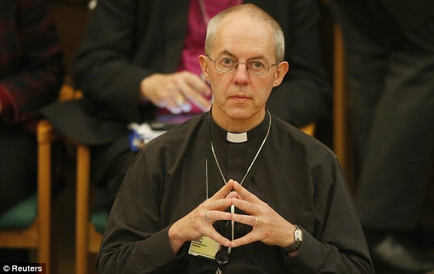 Under consideration: The Archbishop of Canterbury, Justin Welby, said the Church will now consider the recommendations