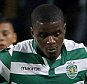 Lisbon, Portugal. 1st August 2014 -- Sporting midfielder William Carvalho controls the ball as Lazio forwardLedesma looks on, during the Five Violins Trophy friendly football match between Sporting CP and Lazio SS at Jose Alvalade Stadium in Lisbon. -- Sporting won the Five Violins Trophy, after a friendly football match against Lazio SS, at Jose Alvalade stadium in Lisbon, which ended in a 2-2 draw. Their victory happened after a penalty kick session.