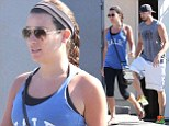 Full of Glee! Lea Michele displays slim figure in blue vest and cropped leggings as she enjoys post-gym lunch date with hunky boyfriend Matthew Paetz