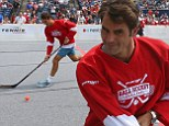 Roger Federer prepares for Rogers Cup with game of ball hockey in Toronto