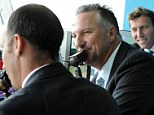 Pundits: Botham (centre) with Michael Atherton (right) and Nasser Hussian in the Sky Sports commentary box