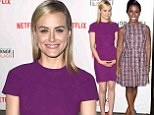 Taylor Schilling opts for purple at Orange Is The New Black event with Emmy-nominated Uzo Aduba... who says no rivalry exists here