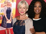 Ageless beauty Helen Mirren, 69, mystifies in a navy lace dress at The Hundred-Foot Journey premiere with Oprah Winfrey