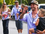 Britney Spears' ex Kevin Federline smiles proudly as he takes wife Victoria Prince and their two daughters shopping in Calabasas