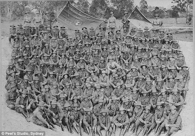 More than 60,000 Australian men lost their lives during battle, pictured here are soldiers in Liverpool, NSW before they departed