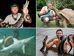 PIC FROM CATERS NEWS - (PICTURED: Forrest holding a black caiman in Ecuador ) - A daredevil adventurer has travelled the globe on a mission to meet the world¿Äôs most dangerous animals. Forrest Galante, 26, has been to more than 40 countries in his attempt to conquer the planet¿Äôs wildlife. Along the way he¿Äôs been bitten by a venomous snake and even survived a plane crash. SEE CATERS COPY.