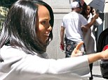 Back to her Scandal-ous best! Kerry Washington looks glamorous in white as she returns to set of hit TV series following birth of her daughter
