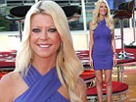 Leggy lady: Tara Reid showcased her assets in a skintight purple mini-dress as she arrived for an appearance on Hollywood Today Live in Hollywood on Monday