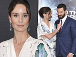 Going straight! Prison Break star Sarah Wayne Callies fixes co-star Richard Armitage's tie at premiere of Into The Storm