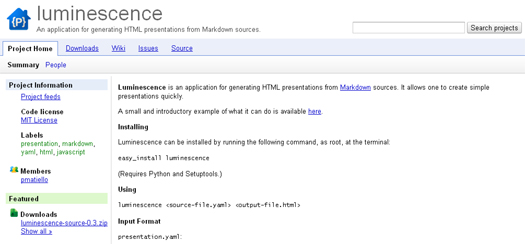 Generate HTML Presentations from Markdown Sources - Luminescence