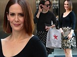 Pick out a new outfit? Sarah Paulson shows her stylish edge in black and bronze dress after Macy's shopping spree