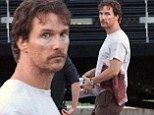 Matthew McConaughey dons blood-stained T-shirt and under-eye patches on the Massachusetts set of Sea of Trees