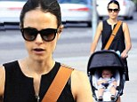 2717501 A Fast And Furious outing! Jordana Brewster takes son Julian out for a spin in his stroller in Los Angeles