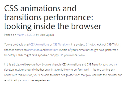 CSS Animations and Transitions Performance