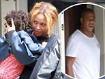 EXCLUSIVE: Beyoncé and Jay Z play happy families on lunch date with Blue Ivy after night in $30,000 hotel suite and amid claims of imminent marriage split