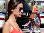 Alessandra Ambrosio wears colorful maxi skirt while on her way to a day spa in Los Angeles on Tuesday