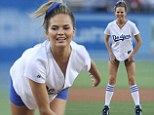 Chrissy Teigen throws the first pitch at The Los Angeles Dodgers game