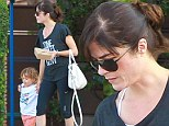 Selma Blair shows off her slim figure in clinging gym gear as she enjoys lunch outing with lively son Arthur