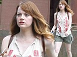 Emma Stone looks harried as she gets back in character to film Woody Allen movie at Rhode Island university... the day after man is arrested on set for assault