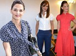 'I try to give Suri a normal childhood': Katie Holmes shares hopes for famous daughter as she swaps outfit three times in a morning to promote new movie